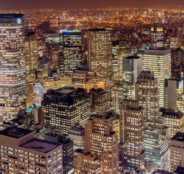 Vue de new york manhattan au coucher du soleil Photo Premium