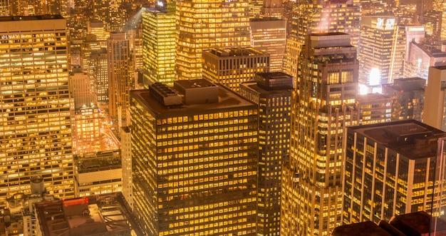 Vue de new york manhattan au coucher du soleil Photo Premium