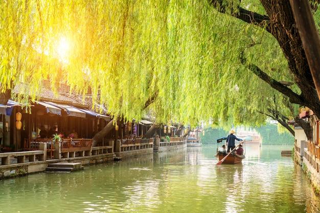 Vue de nuit de la ville antique de suzhou Photo Premium