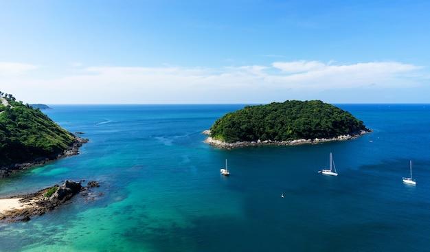 Vue, océan, voile, yacht Photo Premium