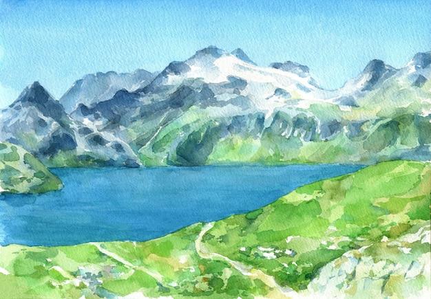 Vue Panoramique Des Alpes Avec Des Prairies Vertes Fraîches Et Un Lac Au Premier Plan. Illustration Aquarelle Dessinée à La Main. Photo Premium