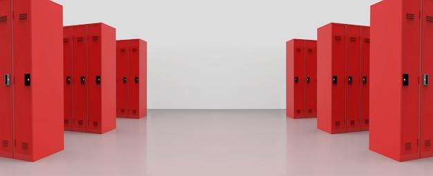 Vue Panoramique Des Casiers Métalliques Rouges Sur Le Fond De La Parole. Photo Premium