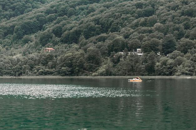 Vue panoramique du lac idyllique près de la montagne verte Photo gratuit
