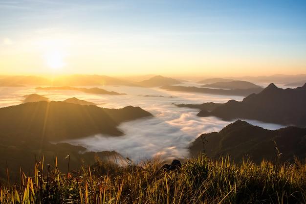 Une vue panoramique de la montagne le matin. Photo Premium