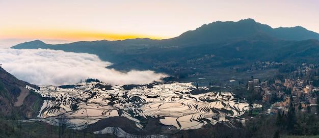 Vue panoramique des rizières en terrasses de yuanyang, chine Photo Premium