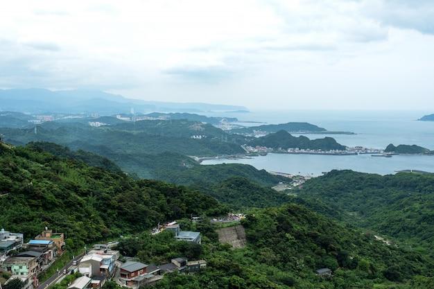 Vue de paysage de jiufen, taipei, taiwan. Photo Premium
