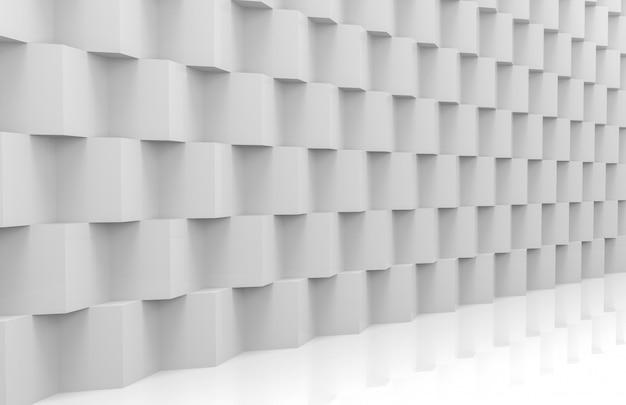 Vue en perspective de la pile moderne abstraite du mur de boîtes au hasard blanc cube de luxe aléatoire Photo Premium