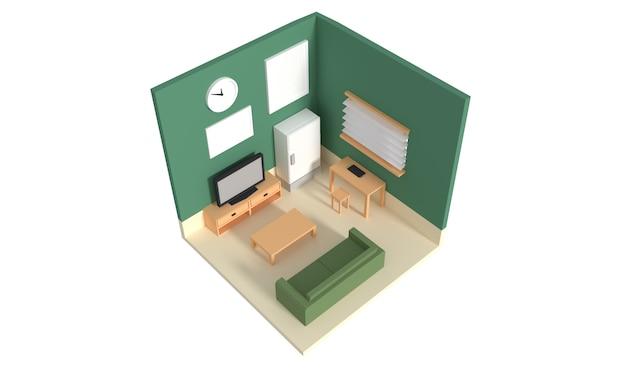 Vue en plan d'un appartement. rez-de-chaussée. design d'intérieur 3d clair Photo Premium