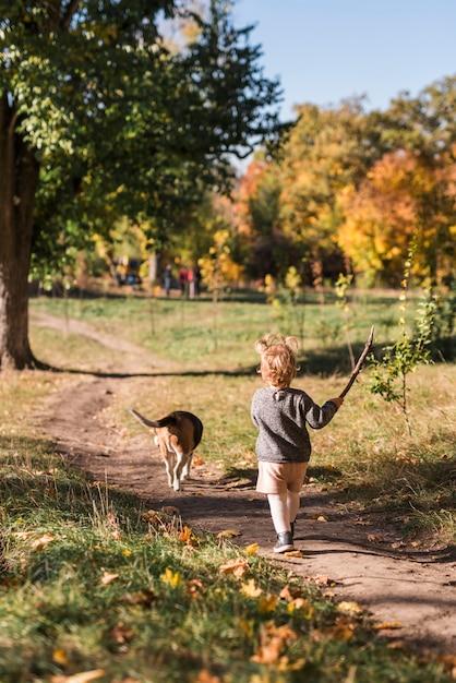Vue postérieure, de, petite fille, marche, à, elle, chien, dans, piste forestière Photo gratuit