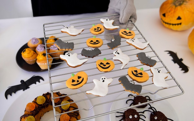 Vue Rapprochée De Délicieux Biscuits D'halloween Photo gratuit