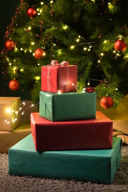 Vue Rapprochée Du Concept De Cadeaux De Noël Photo gratuit