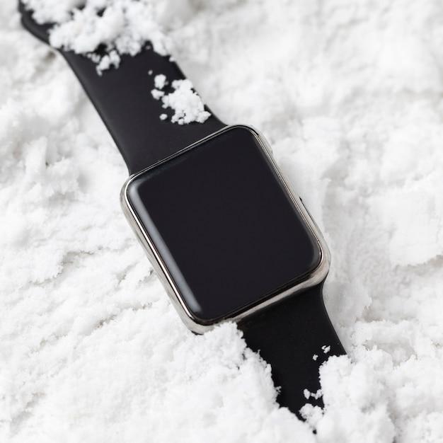 Vue Rapprochée Du Concept De Neige D'hiver Photo Premium