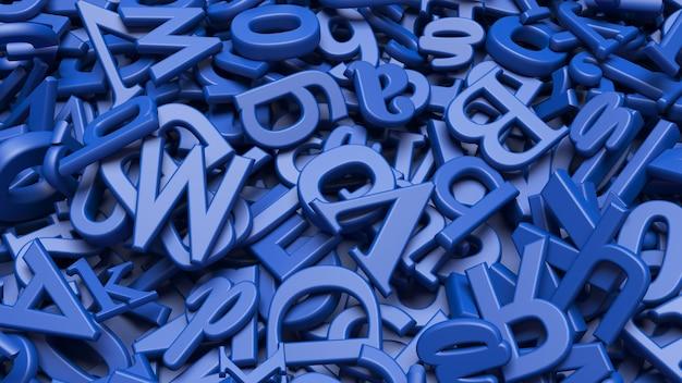 Vue Rapprochée D'un Grand Nombre De Lettres De L'alphabet Bleu 3d Photo Premium