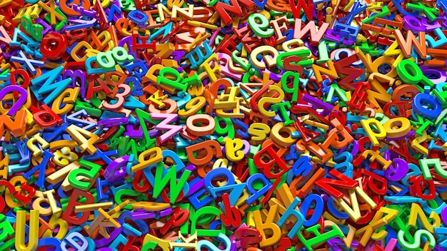 Vue Rapprochée D'un Grand Nombre De Lettres De L'alphabet Multicolore 3d Photo Premium