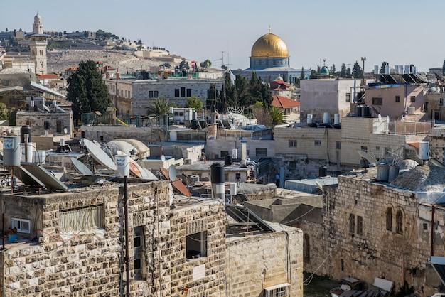 Vue De La Vieille Ville De Damas Porte Avec Le Dôme Du Rocher En Arrière-plan, Jérusalem, Israël Photo Premium