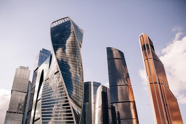 Vue de la ville de moscou de gratte-ciel centre d'affaires international de moscou Photo Premium