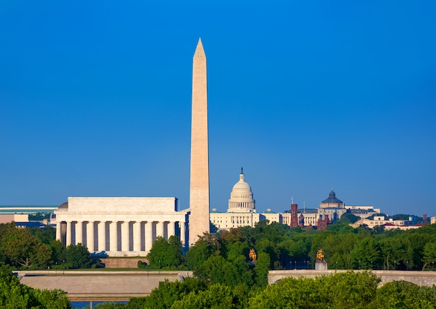 Washington monument capitol et lincoln memorial Photo Premium