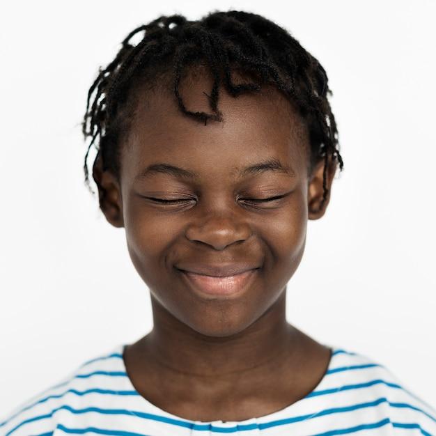 Worldface-congolese kid dans un fond blanc Photo gratuit