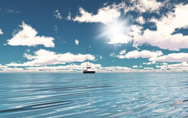 Yacht 3d Sur L'océan Photo gratuit