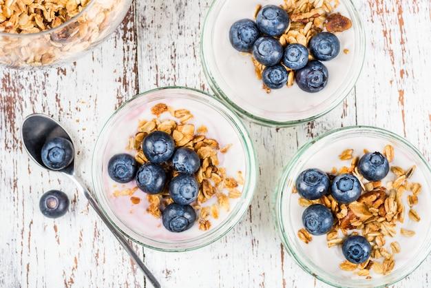 Yaourt avec granola et myrtilles maison Photo Premium