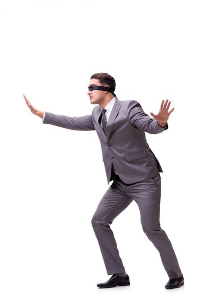 Yeux bandés, homme affaires, isolé, blanc Photo Premium