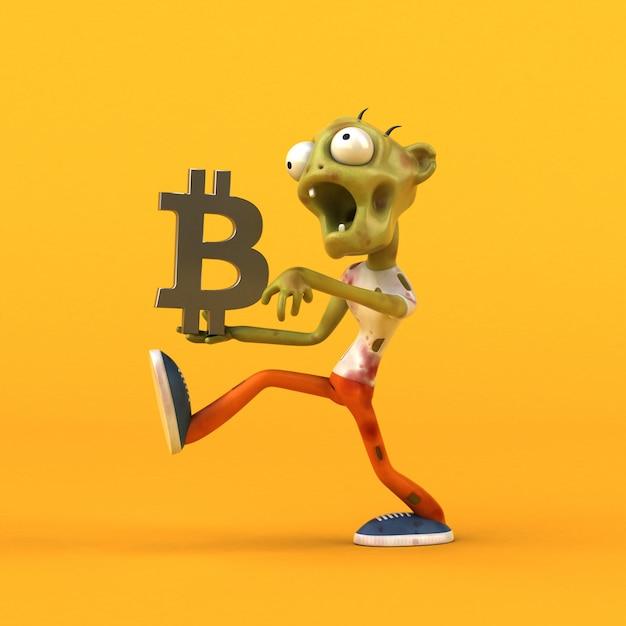Zombie Et Bitcoin - Illustration 3d Photo Premium