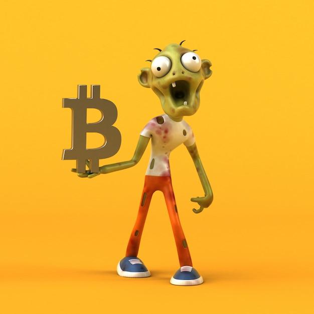 Zombie Et Bitcoin - Personnage 3d Photo Premium