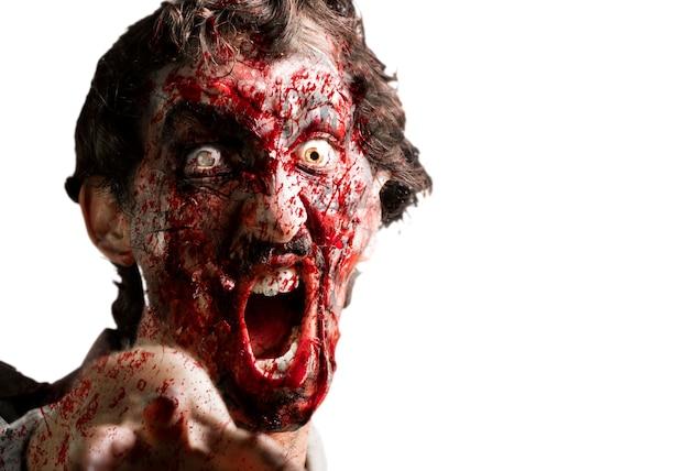 Zombie Avec La Mâchoire Décrochée Photo gratuit