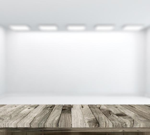3d rendent d 39 une table en bois avec defocussed salle blanche vide en arri re plan t l charger. Black Bedroom Furniture Sets. Home Design Ideas