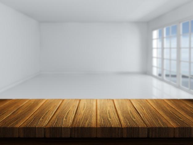 3d rendent d 39 une table en bois avec une pi ce vide - Plan d une table en bois ...