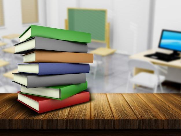 3d rendent d 39 une table et des livres en bois avec une salle de classe defocussed en arri re plan. Black Bedroom Furniture Sets. Home Design Ideas