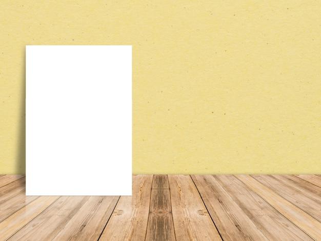 Affiche De Papier Blanc Vierge Au Plancher De Bois De Planche Et