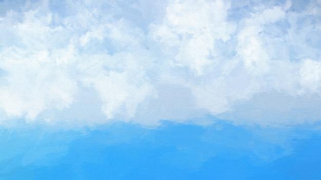 Bien-aimé Aquarelle abstraite d'un océan bleu et nuages blancs dans le  PN66