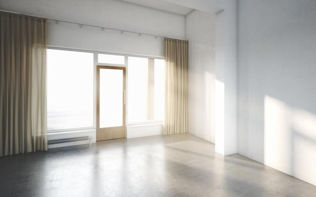 Belle chambre blanche et lumineuse avec la lumière du soleil qui ...