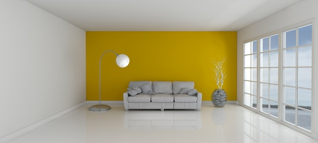 chambre avec un mur jaune et un canap t l charger des photos gratuitement. Black Bedroom Furniture Sets. Home Design Ideas