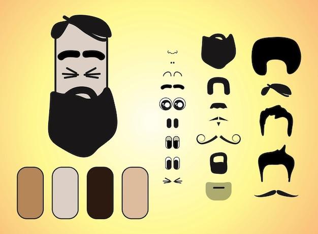 dessin animé barbe caractère facial vecteur de caractéristiques Photo gratuit