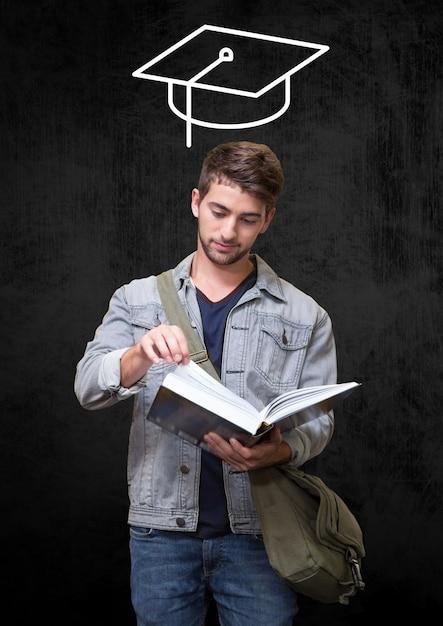 élégante lecture touchante concentrée sophistiquée Photo gratuit