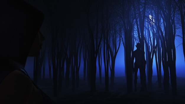 Femme 3D en regardant la créature dans la forêt brumeuse Photo gratuit