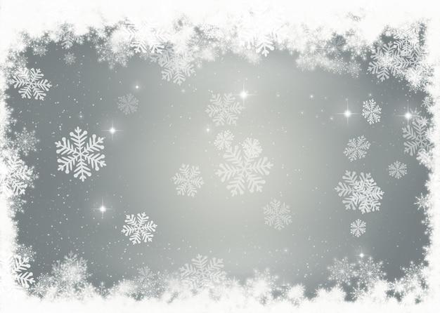 Fond de no l avec d coration fronti re de flocon de neige - Flocon de neige decoration ...