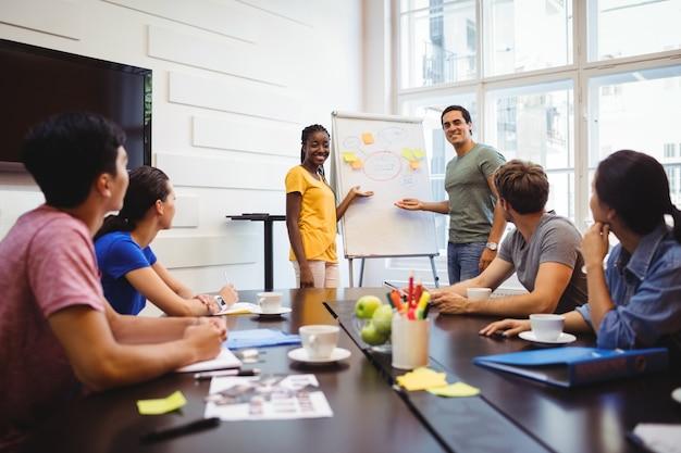 Graphistes discuter sur le tableau blanc avec leurs collègues Photo gratuit