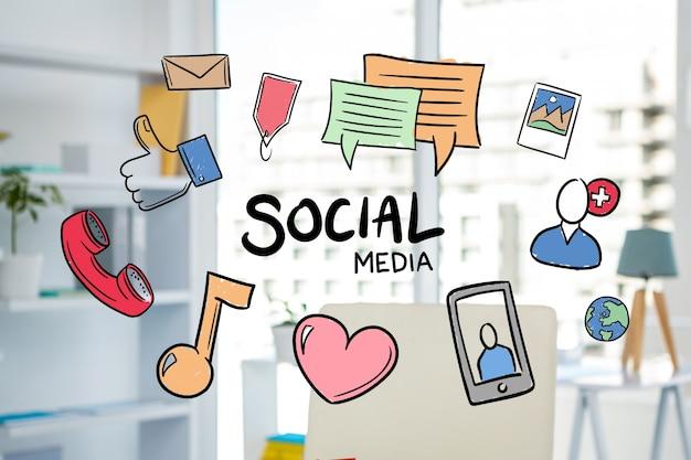 illustrations de médias sociaux dessinés à la main Photo gratuit