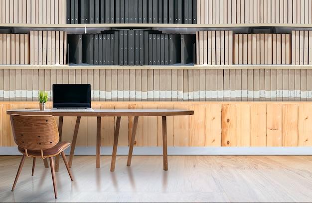 Intérieur de bureau moderne avec ordinateur portable sur la table en