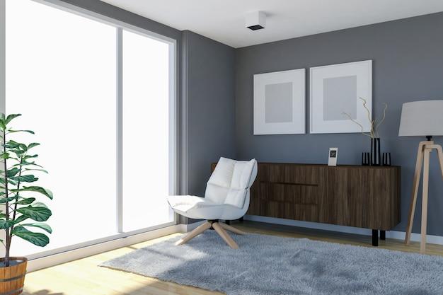 Intérieur de salon contemporain avec mur gris et grandes fenêtres ...