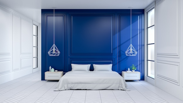 int rieur moderne de chambre coucher lit blanc sur sol blanc et mur bleu fonc t l charger. Black Bedroom Furniture Sets. Home Design Ideas