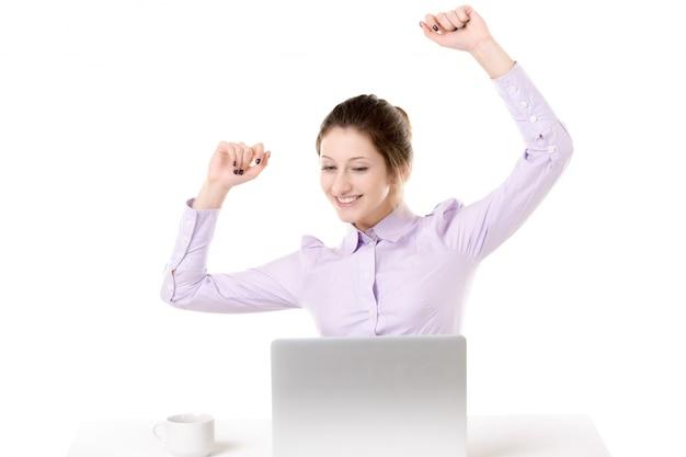 Bien connu Jeune fille, levée, bras, heureux, expression, devant, ordinateur  ZW22
