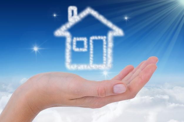 Main avec une maison faite de nuage t l charger des for Logo avec une maison