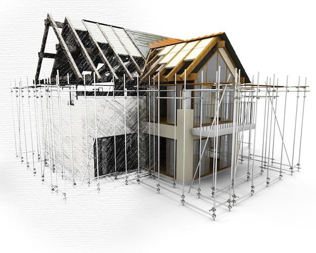 Maison 3D avec des échafaudages avec la moitié en phase d'esquisse Photo gratuit