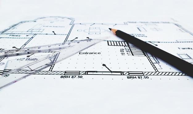 outil de plan de maison et de dessin avec r gle et crayon t l charger des photos premium. Black Bedroom Furniture Sets. Home Design Ideas