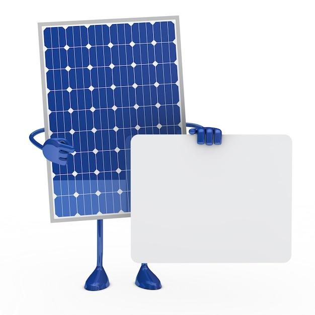 Panneau solaire posant avec une pancarte pour le texte for Qu est ce qu un panneau solaire