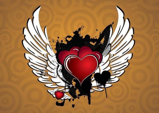 vecteur de coeur ailé